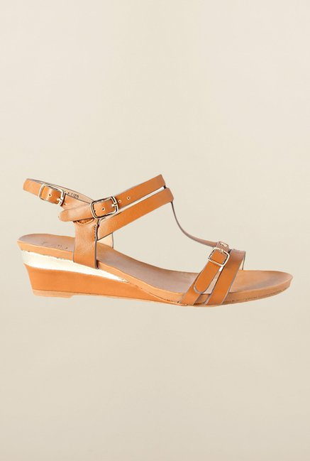 Allen Solly Brown Ankle Strap Wedges