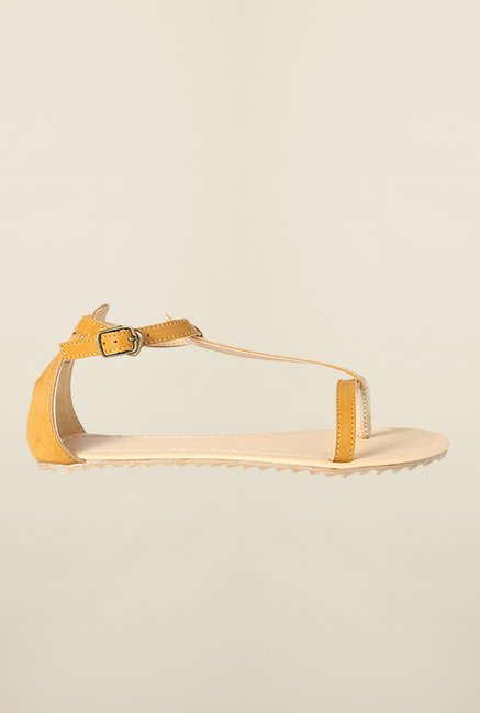 Allen Solly Brown & Gold Ankle Strap Sandals