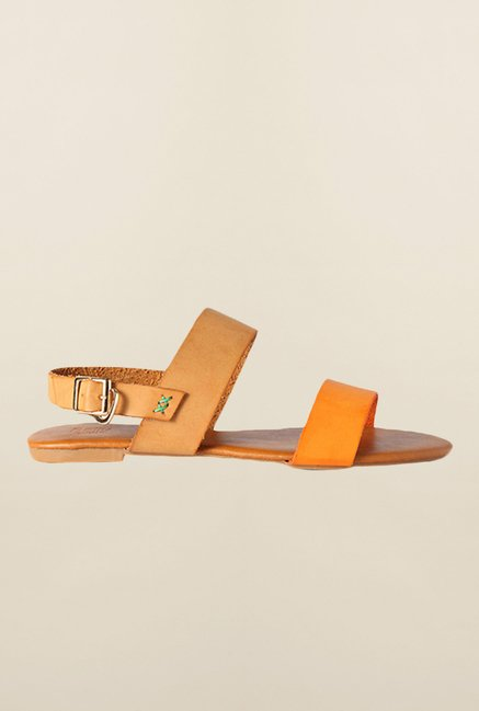 Allen Solly Orange & Tan Back Strap Sandals