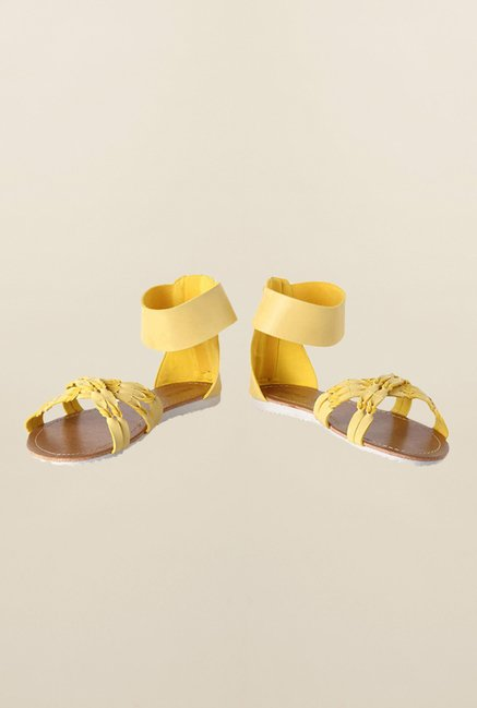 People Yellow Ankle Strap Sandals
