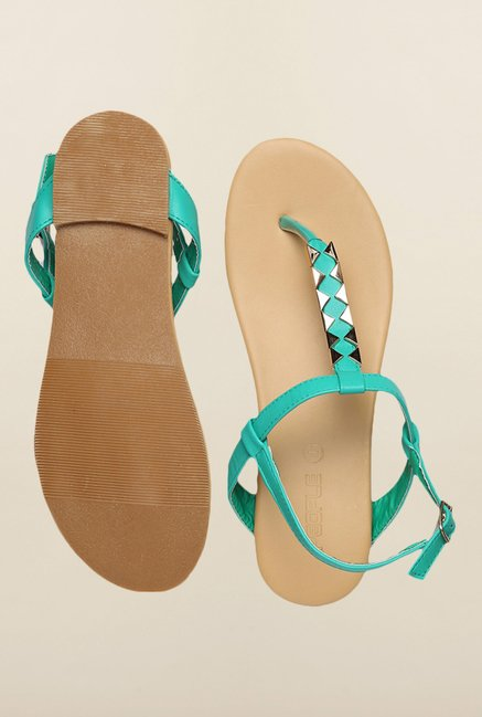 People Turquoise Back Strap Sandals