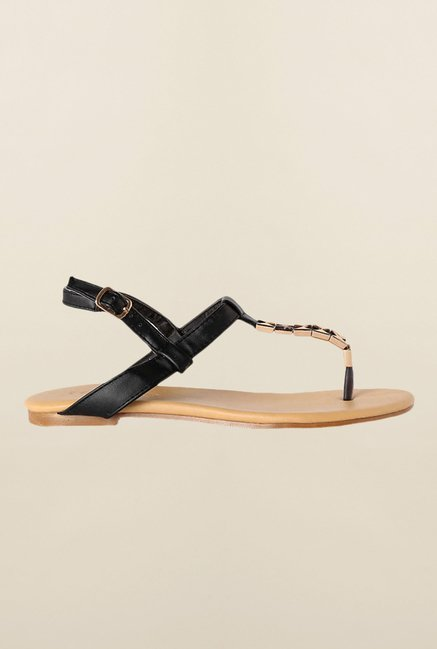 People Black Back Strap Sandals