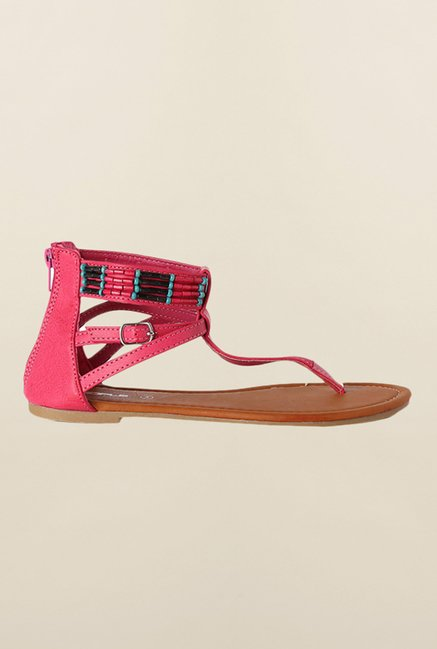 People Pink Ankle Strap Sandals