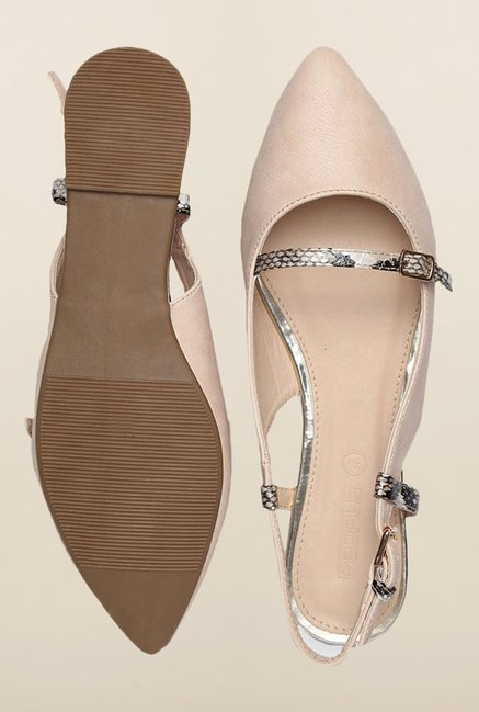 People Beige Back Strap Sandals