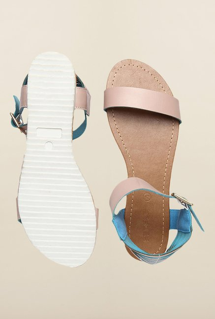 People Beige Ankle Strap Sandals