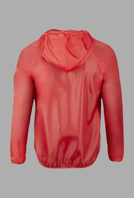 Outpace Red Solid Running Windbreaker Jacket