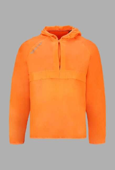 Outpace Orange Solid Running Windbreaker Jacket