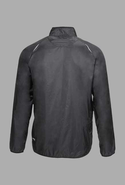 Outpace Black Solid Running Windbreaker Jacket
