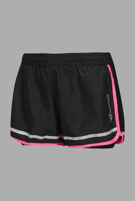 Outpace Black Regular Fit Running Shorts