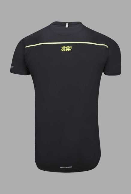 Outpace Black Printed Running T Shirt