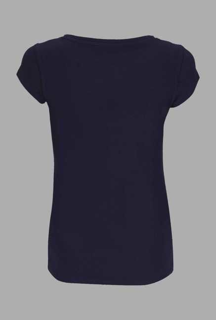 Doone Navy Printed Training T Shirt
