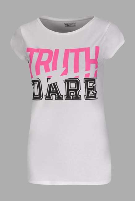 Doone White Printed Training T Shirt
