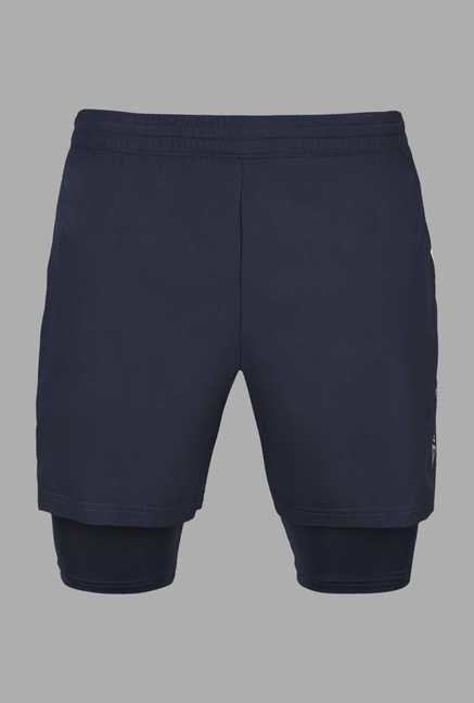 Outpace Navy Solid Running Shorts