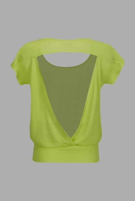 Doone Lime Green Printed Training Top