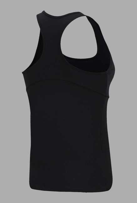 Doone Black Solid Slim Fit Training Singlet