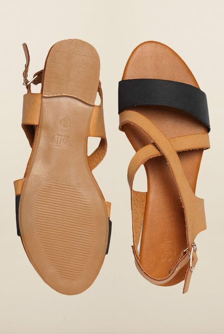 Allen Solly Black & Tan Back Strap Sandals
