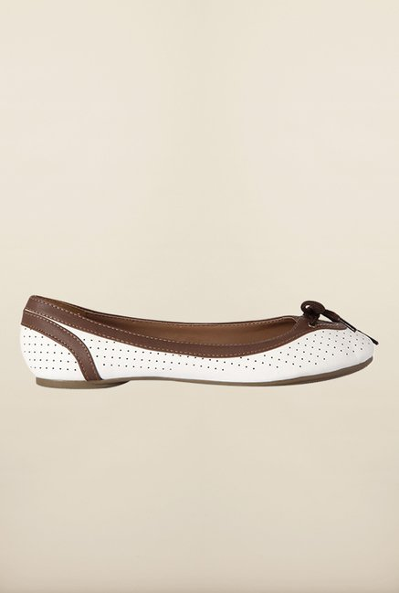 Allen Solly White & Brown Ballerinas