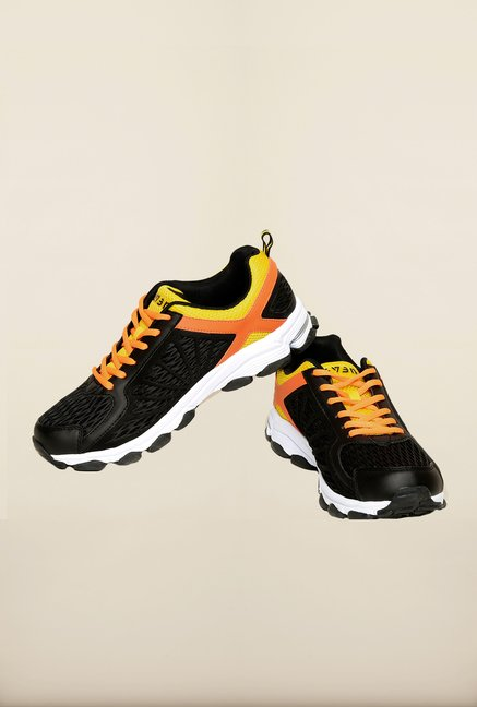 Seven Black & Orange Mesh Running Shoes