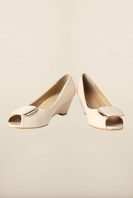 Van Heusen Cream Peep Toe Wedges