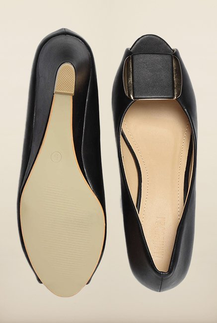 Van Heusen Black Peep Toe Casual Wedges