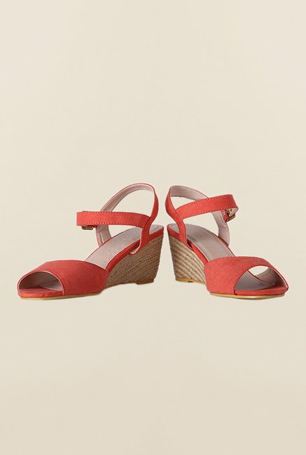 Van Heusen Peach Ankle Strap Wedges