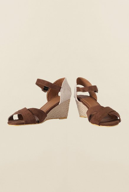 Van Heusen Brown Ankle Strap Wedges