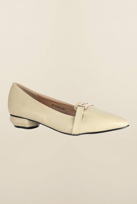 Allen Solly Beige Block Heel Pumps