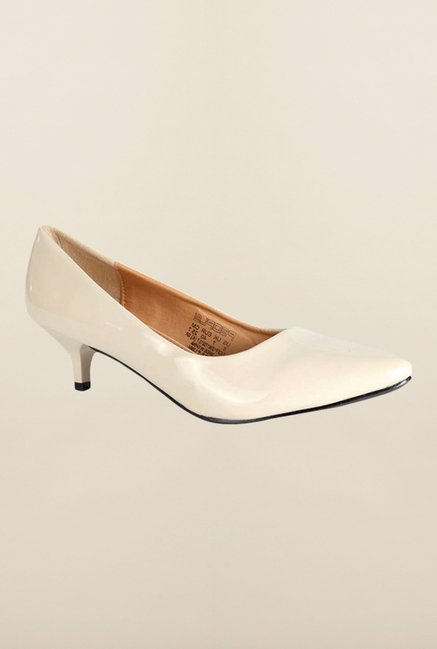 People Cream Kitten Heel Pumps