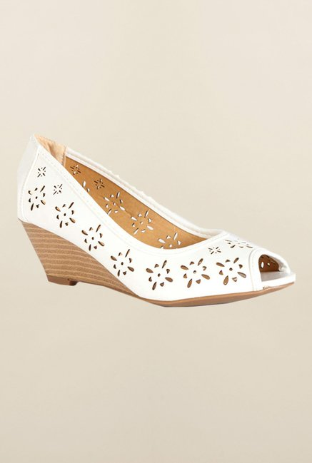 People White Peep Toe Wedges