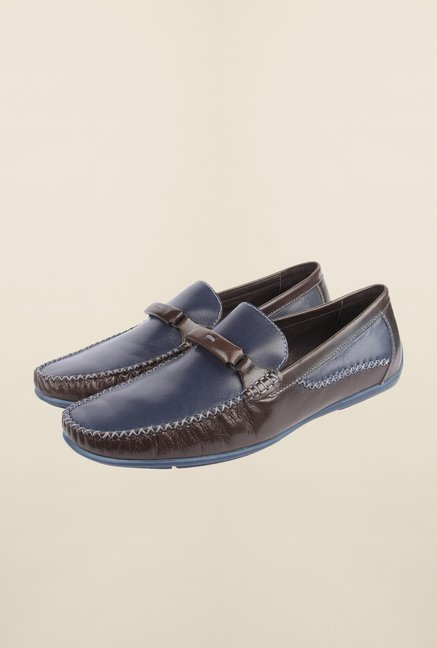 Cobblerz Navy & Brown Leather Loafers