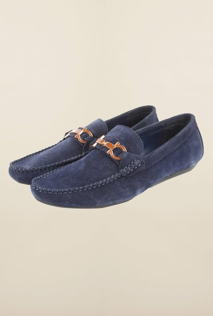 Cobblerz Navy Leather Casual Loafers