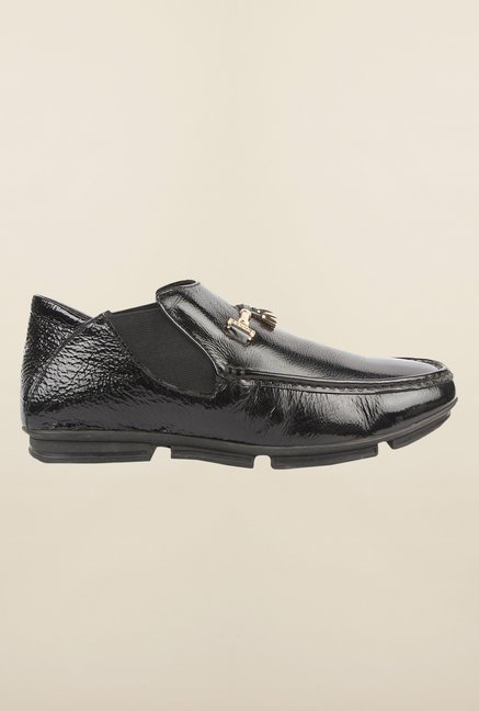 Cobblerz Black Leather Slip-On Shoes