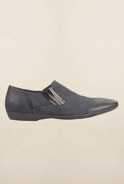 Cobblerz Navy Leather Slip-Ons