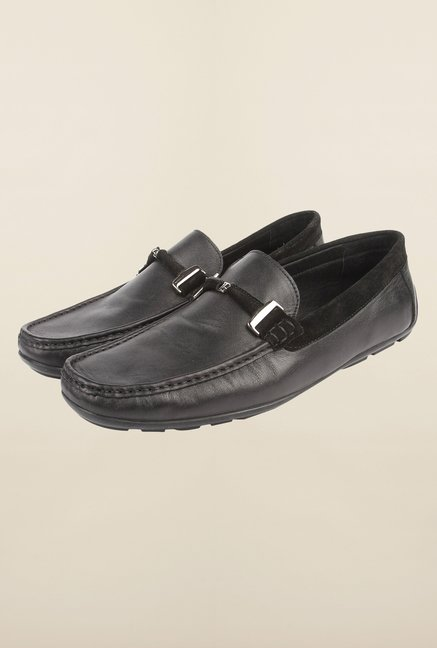 Cobblerz Black Leather Casual Loafers