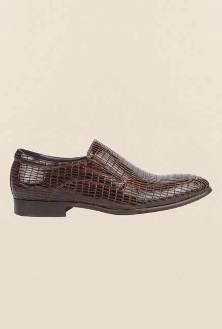 Cobblerz Brown Leather Casual Slip-Ons