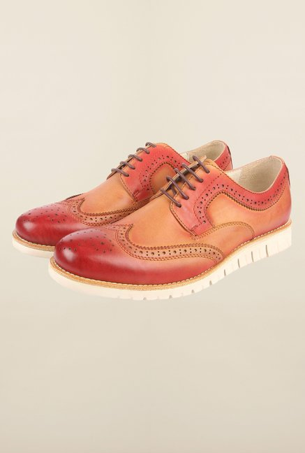 Cobblerz Red & Tan Brogue Shoes