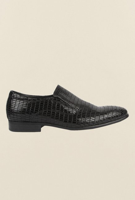 Cobblerz Black Leather Formal Slip-Ons