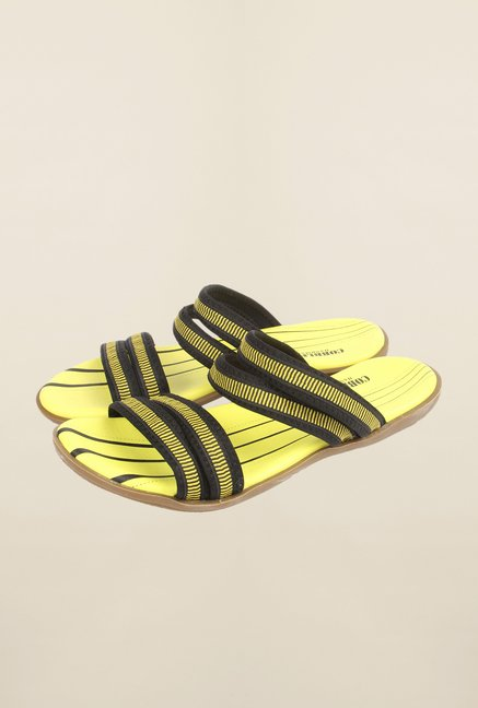 Cobblerz Yellow & Black Leather Sandals