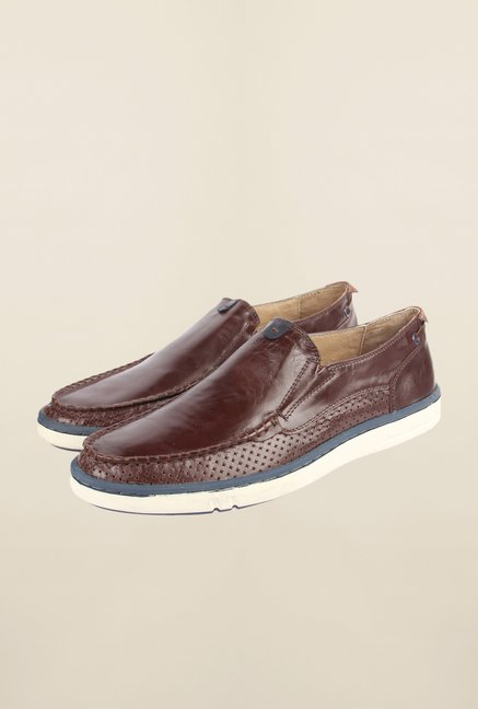 Cobblerz Coffee Leather Slip On Shoes