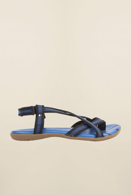 Cobblerz Blue & Black Back Strap Sandals