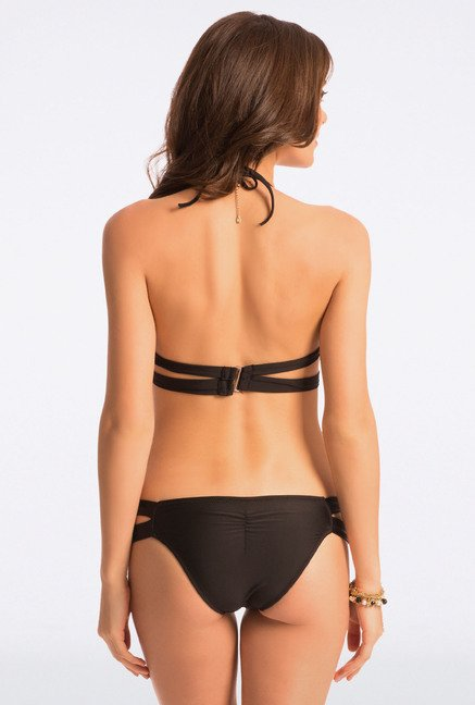 Pretty Secrets Black Solid Halter Bikini Set
