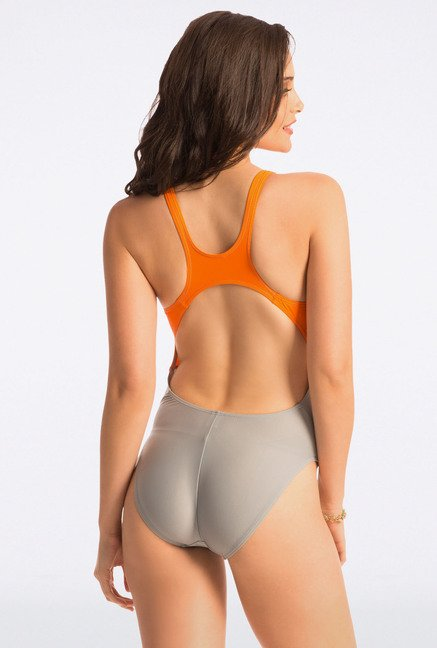 Pretty Secrets Orange & Grey Racerback Swimsuit