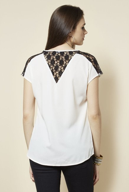 Zudio White V Neck Lace Blouse