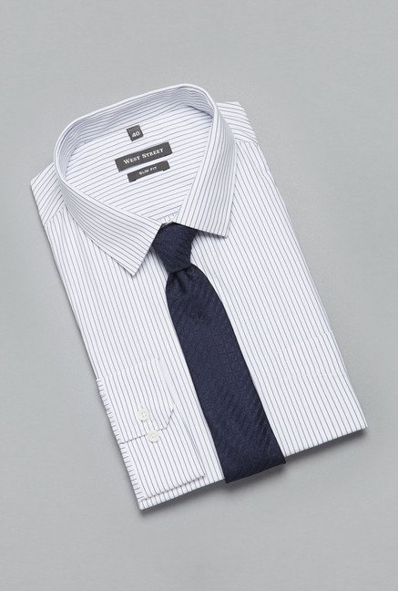 Weststreet White Striped Cotton Shirt