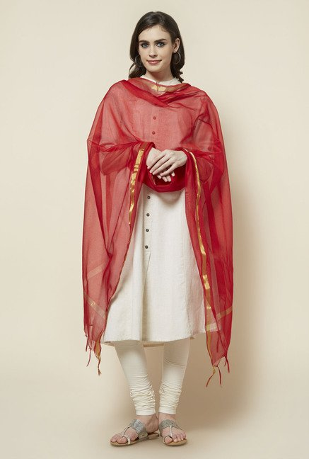 Zudio Red Polyester Dupatta