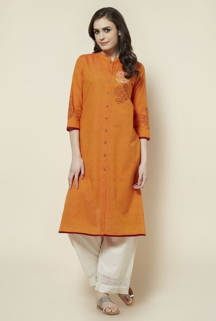 Zudio Orange Solid Kurta