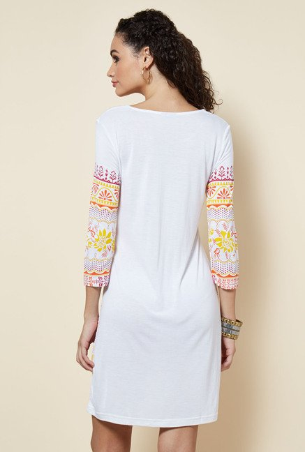 Zudio White Printed Dress