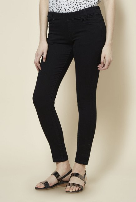 Zudio Black Solid Jeggings