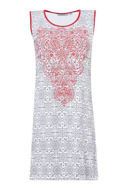 Zudio White Printed Sleeveless Dress