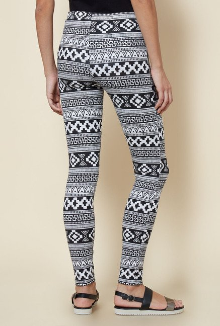 Zudio Black & White Aztec Printed Leggings